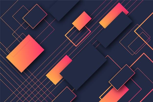 Градиент оранжевые прямоугольники геометрических фигур на темном фоне Бесплатные векторы