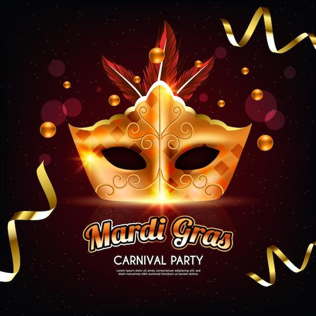 Марди гра реалистичный дизайн с золотой маской и лентами Бесплатные векторы