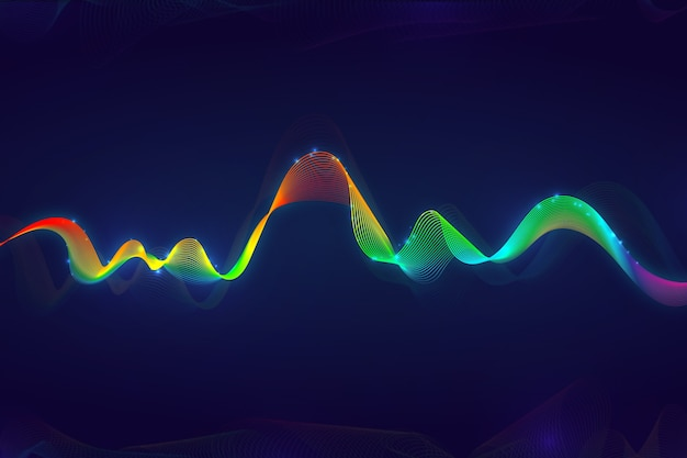 カラフルなイコライザー波背景 無料ベクター