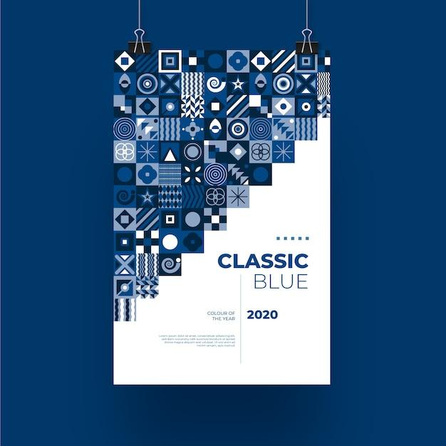 抽象的な古典的な青いポスターテンプレート 無料ベクター