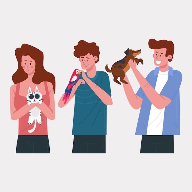 Люди с разной концепцией домашних животных Бесплатные векторы