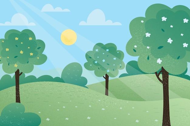 平らな春の風景のコンセプト 無料ベクター
