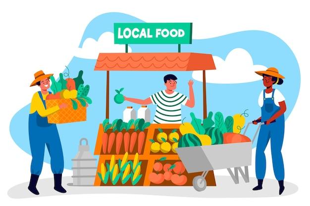 Иллюстрация концепции органического земледелия с фермерами Бесплатные векторы