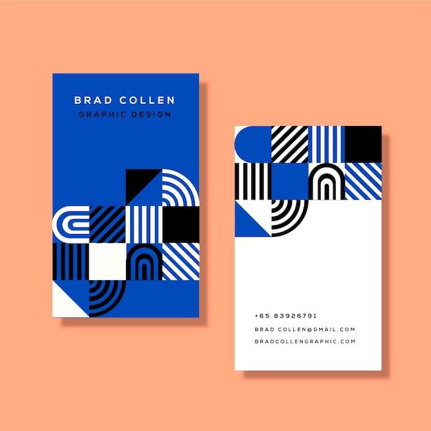 Шаблон визитной карточки с классическими синими фигурами Бесплатные векторы