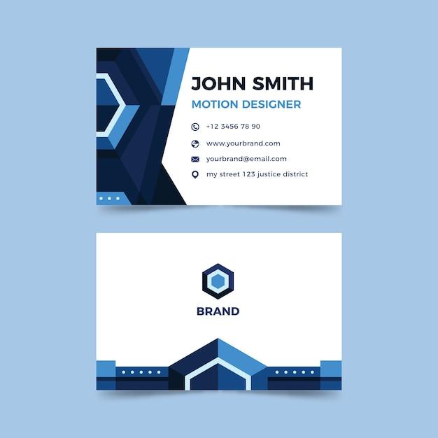 青い図形の会社カード 無料ベクター