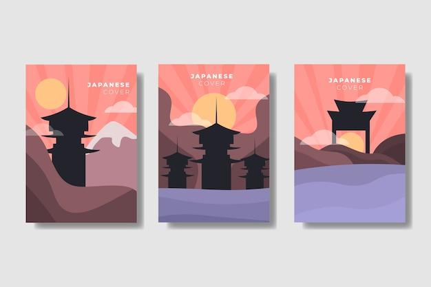 Японский минималистский набор обложек Бесплатные векторы