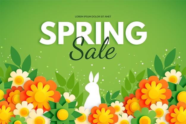 ウサギと花とカラフルな紙のスタイルで春の背景 無料ベクター