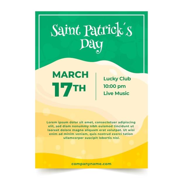 Плакат или флаер на день святого патрика с пивной пеной Бесплатные векторы
