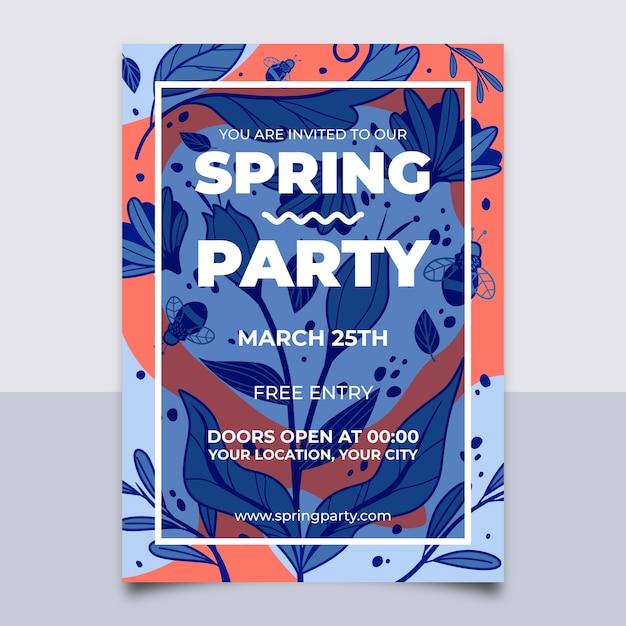 抽象的な葉のシームレスパターンと春パーティーポスター 無料ベクター