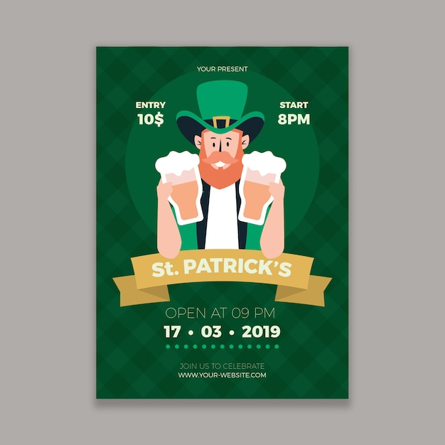 Плоский дизайн святого патрика день плакат шаблон Бесплатные векторы