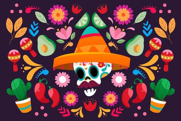 メキシコのカラフルな背景 無料ベクター