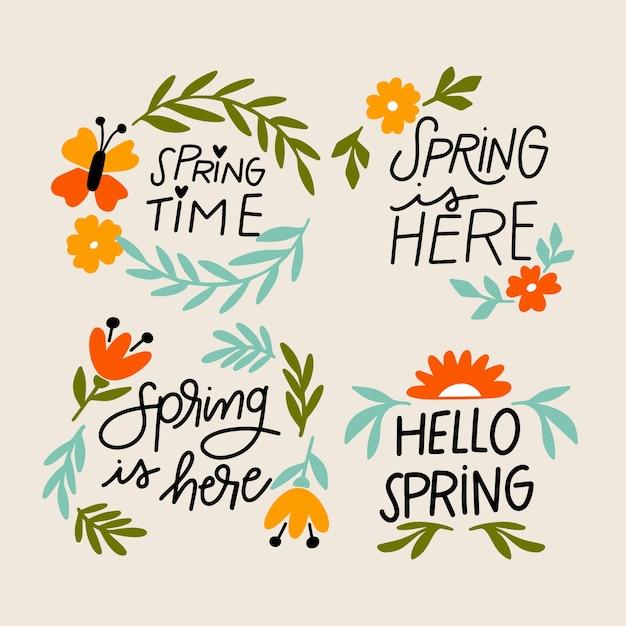 手描きの季節の春バッジコレクション 無料ベクター
