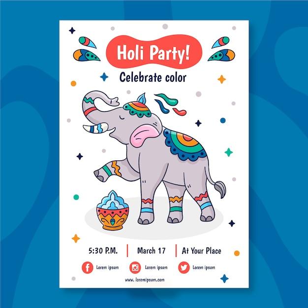 Нарисованный рукой шаблон плаката фестиваля холи Бесплатные векторы