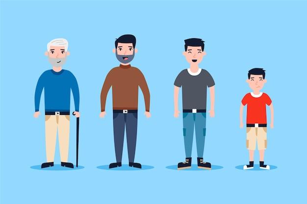 Человек в разных возрастах Бесплатные векторы