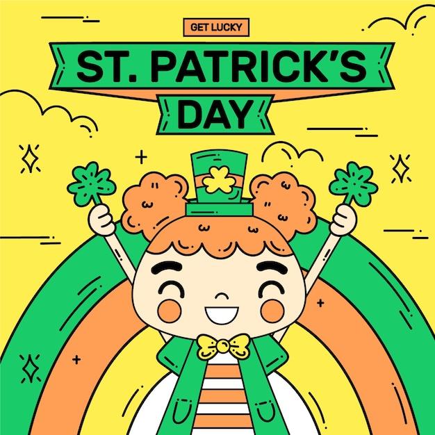手描きの聖パトリックの日の概念 無料ベクター