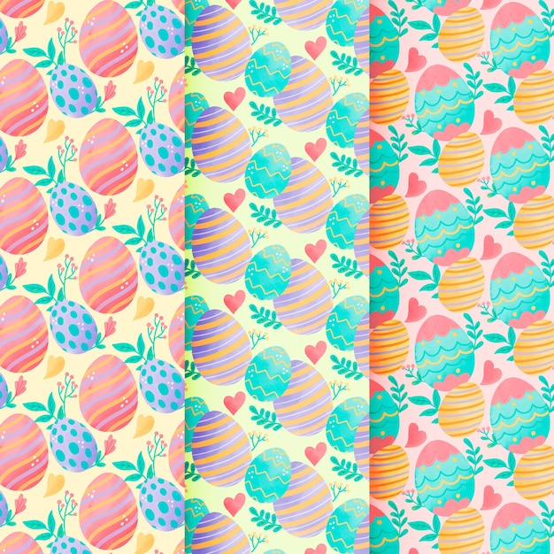 Пасха бесшовные акварель с разноцветными яйцами Бесплатные векторы