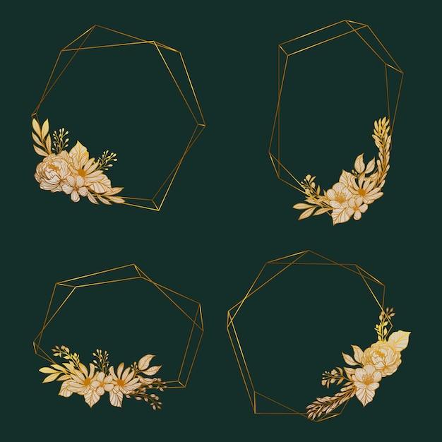 エレガントな花と黄金の多角形フレーム 無料ベクター