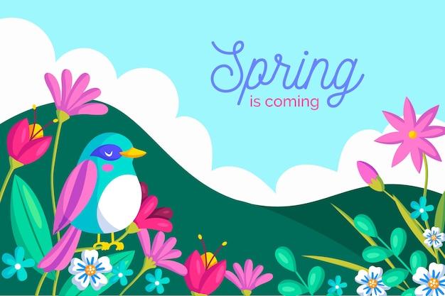 Весенний фон с цветами и птицей Бесплатные векторы