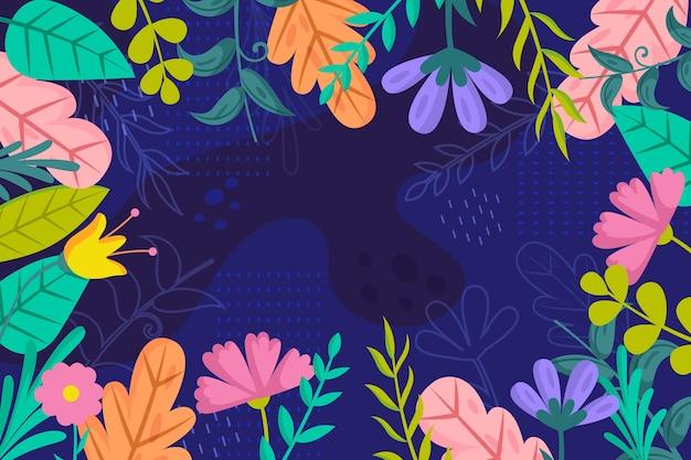 フラットなデザインの花の壁紙スタイル 無料ベクター