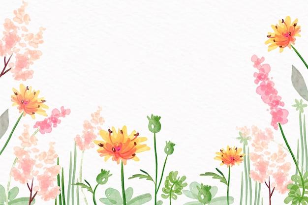パステルカラースタイルの水彩花の壁紙 無料ベクター