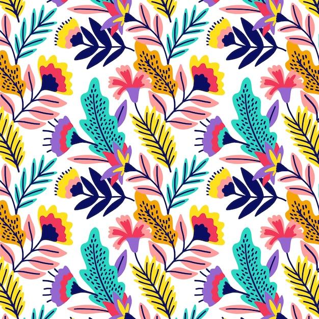 Красочный экзотический цветочный фон Бесплатные векторы