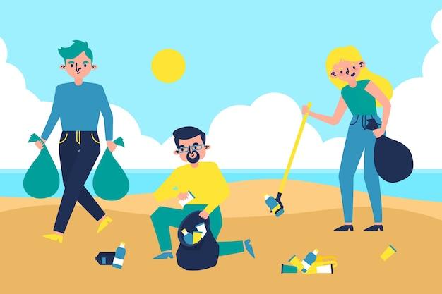 ビーチのイラストを掃除人 無料ベクター