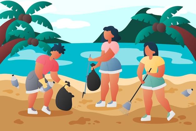 人々ビーチイラストコンセプトをクリーニング 無料ベクター