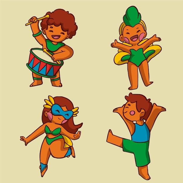 Пакет карнавальных танцоров Бесплатные векторы