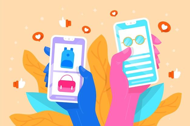 電話でのソーシャルメディアマーケティングデザイン 無料ベクター