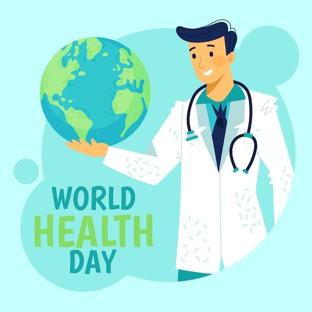 Тема рисованной всемирный день здоровья Бесплатные векторы