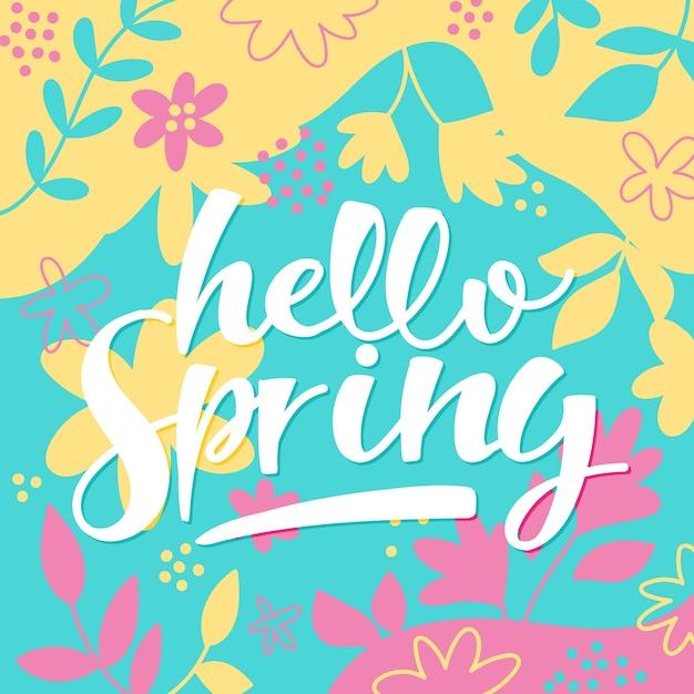 描かれた花と春のレタリング 無料ベクター