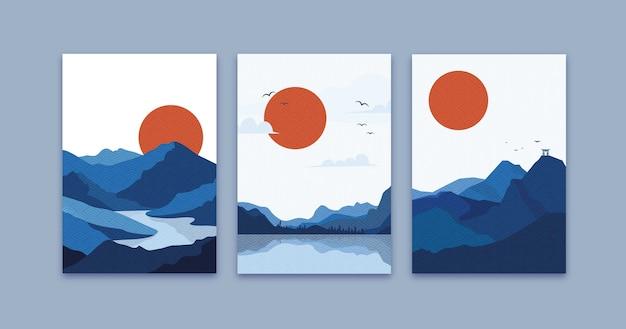 Минимальные красочные японские обложки Бесплатные векторы
