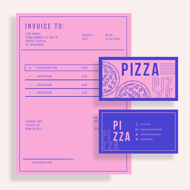 二色のピザレストランテンプレート 無料ベクター