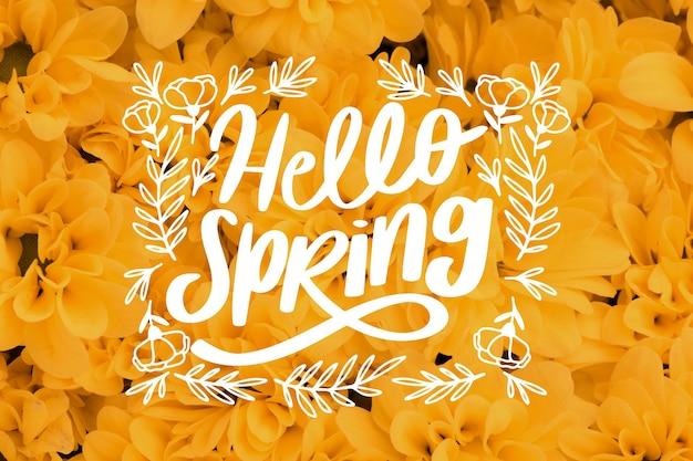 こんにちは春のレタリングと黄色の花の写真 無料ベクター