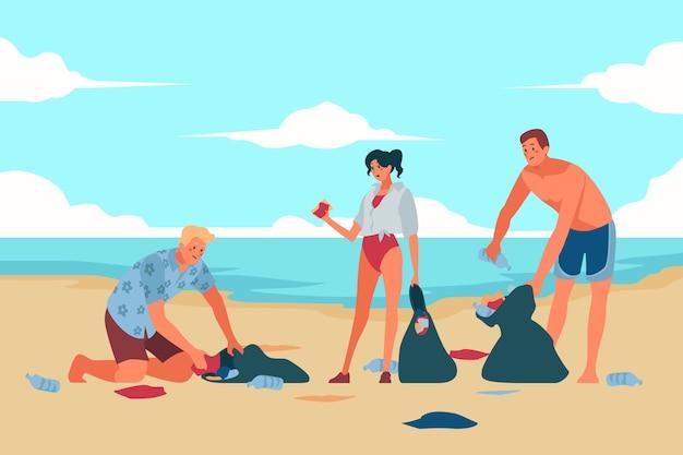 ビーチ清掃の人々 無料ベクター