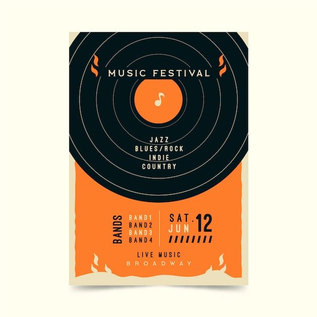 レトロな音楽祭のポスター 無料ベクター
