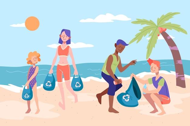ごみのビーチを掃除する人々 無料ベクター