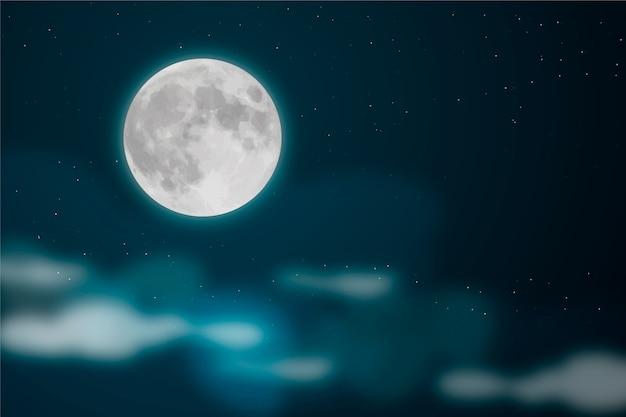 リアルな満月の空の壁紙 無料ベクター