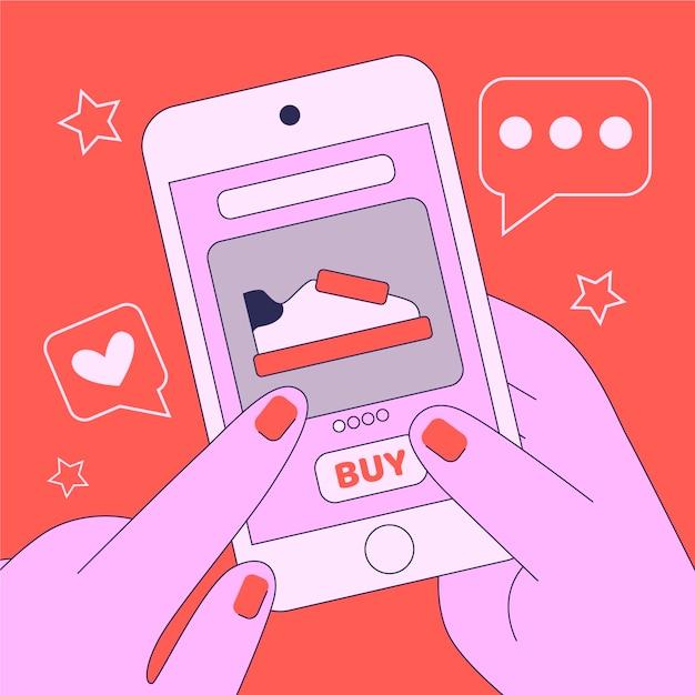 オンラインショッピングのソーシャルメディアの概念 無料ベクター
