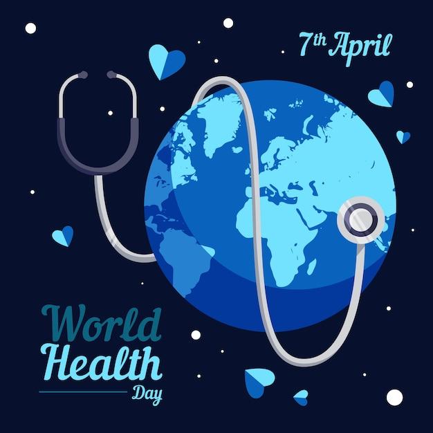 Всемирный день здоровья земли со стетоскопом в ночи Бесплатные векторы