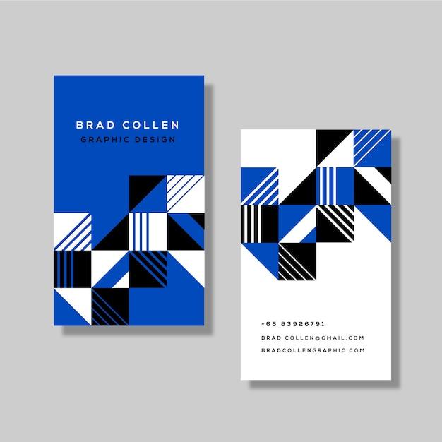 抽象的なクラシックブルー名刺テンプレート 無料ベクター