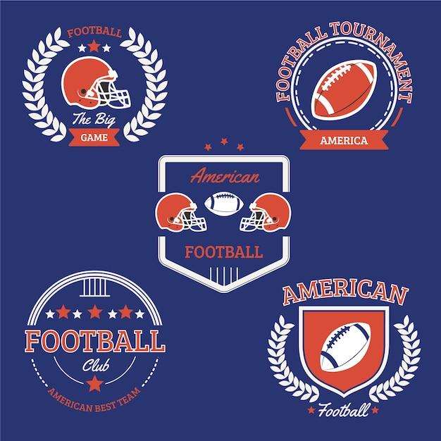 ビンテージアメリカンフットボールバッジコレクション 無料ベクター