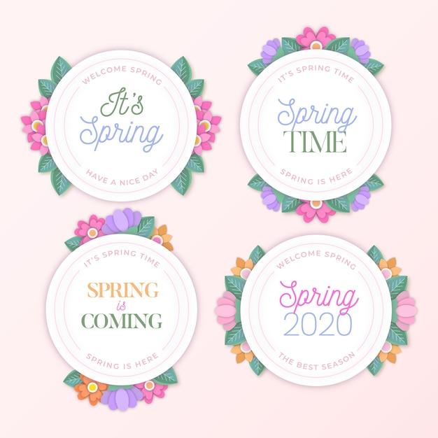 フラットなデザインの春時間花バッジ 無料ベクター