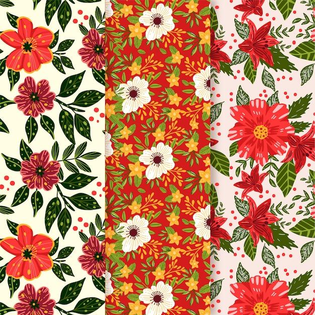 赤と白の花を持つ手描き春パターンセット 無料ベクター