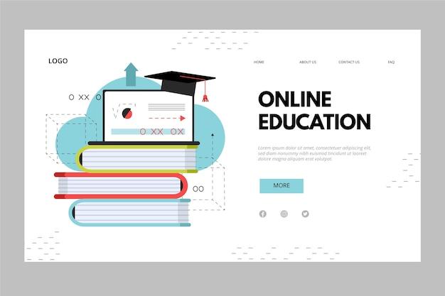 Куча книг онлайн образования целевой страницы Бесплатные векторы