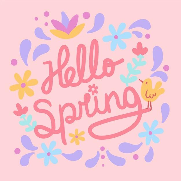 こんにちは、黄色の鳥と花の春レタリング 無料ベクター