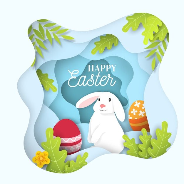 かわいい白いウサギと紙スタイルハッピーイースターの日 無料ベクター