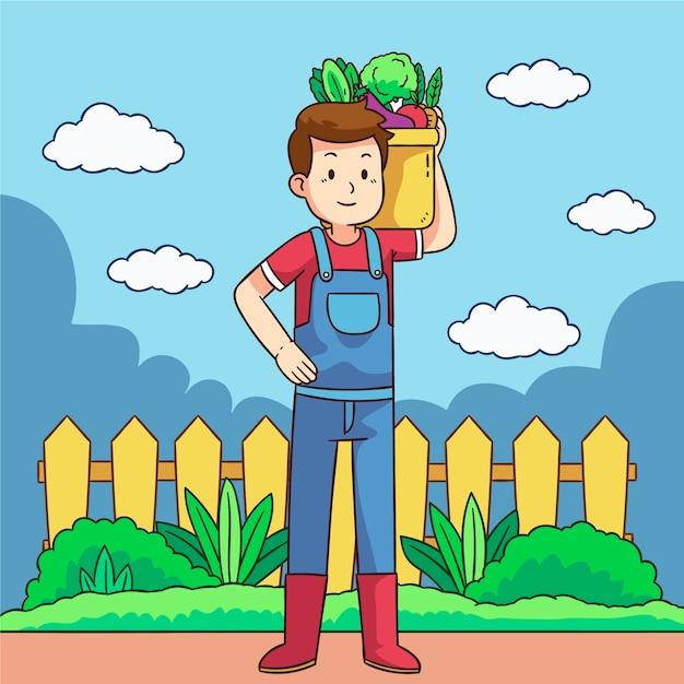 野菜を運ぶ男と有機農業の概念 無料ベクター