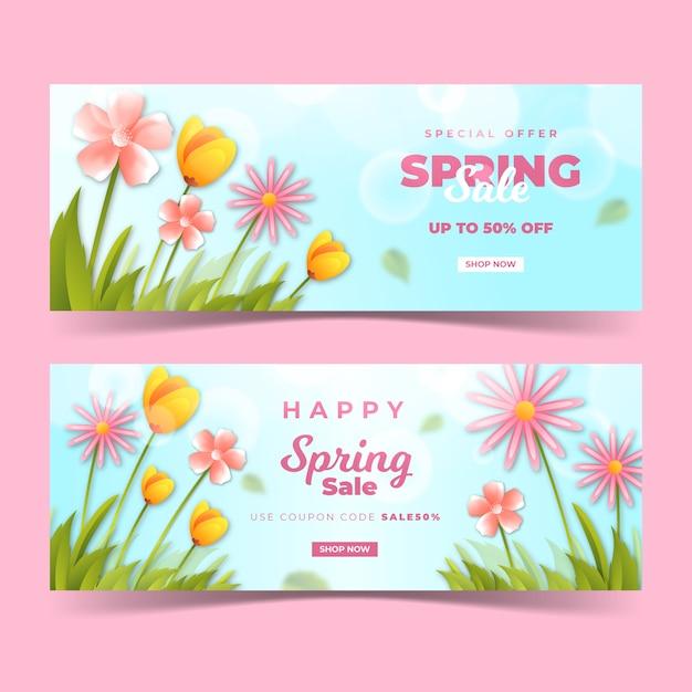 日光の下で野の花と春の現実的なバナー 無料ベクター