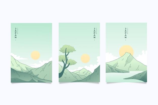 Набор японских чехлов минималистичный дизайн Бесплатные векторы